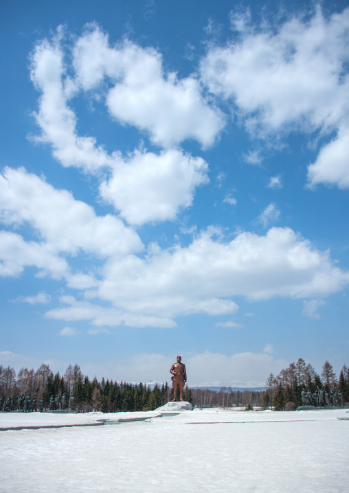 President Kim ii Sung statue on the Grand monument, Ryanggang Province, Samjiyon, North Korea
