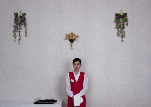 Waitress in a hotel, Ryanggang Province, Samjiyon, North Korea