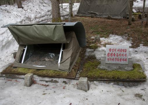 Fire made by Kim jong-suk during the anti japanese war and kept in paektusan secret camp, Ryanggang Province, Samjiyon, North Korea