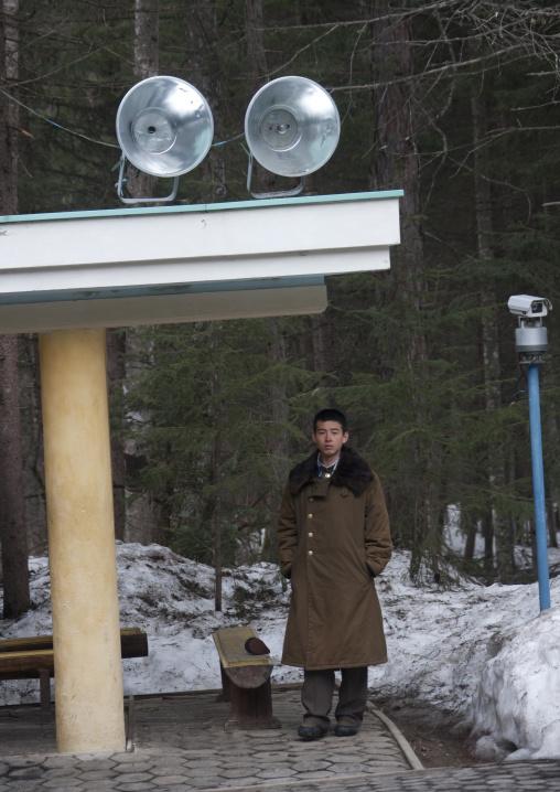 North Korean soldier in paektusan secret camp, Ryanggang Province, Samjiyon, North Korea