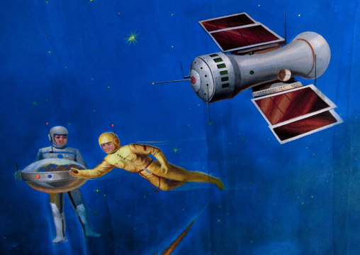 Painting about space exploration in children's palace, Ryanggang Province, Samjiyon, North Korea