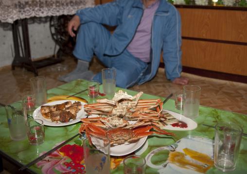 Sea food meal in a North Korean homestay, North Hamgyong Province, Jung Pyong Ri, North Korea