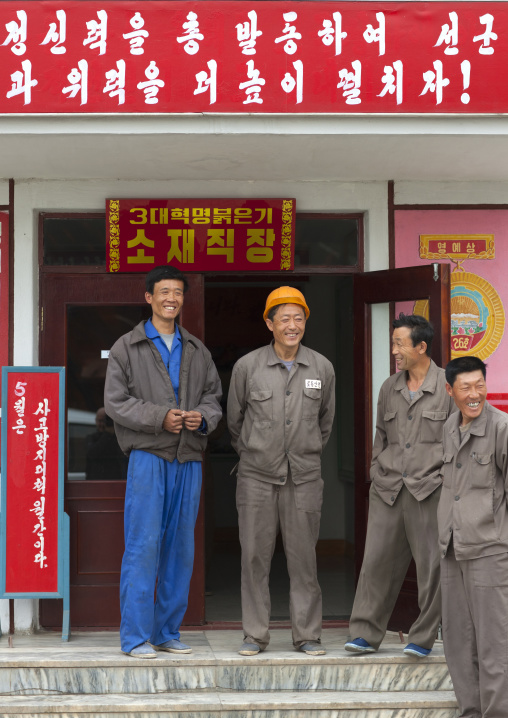 North Korean workers having a break in their steel factory, South Pyongan Province, Nampo, North Korea