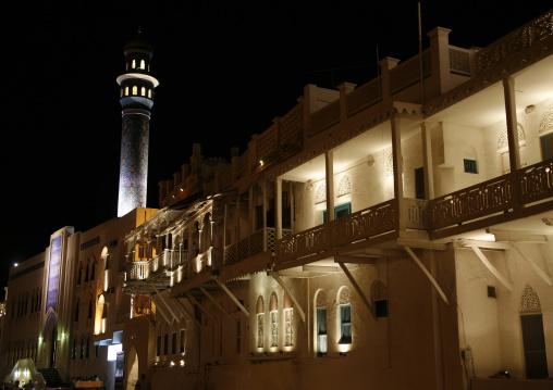 Night View Of Al Lawatiya Mosque In Muttrah Corniche, Oman
