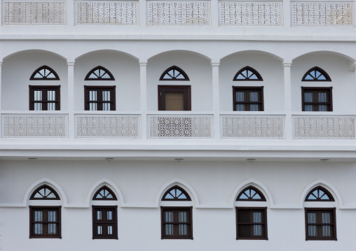 Old Omani White House With Typical Wooden Doors And Windows In Muscat, Oman