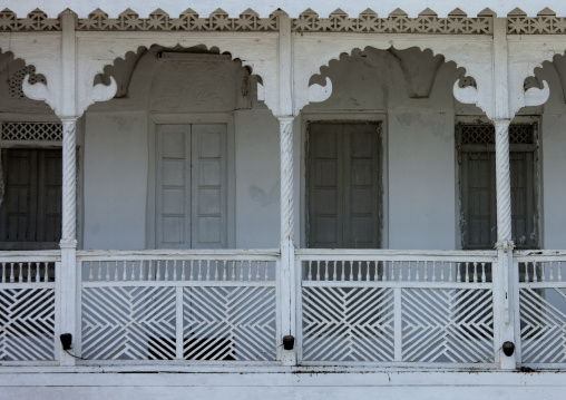 Old Omani White House With Carved Balcons, Muscat, Oman