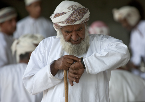 Old Omani Man Looking At His Watch, Sinaw, Oman