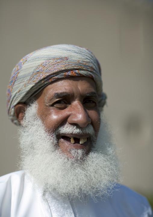 Old Omani Man Smilling In Turban And Dishdasha, Nizwa, Oman