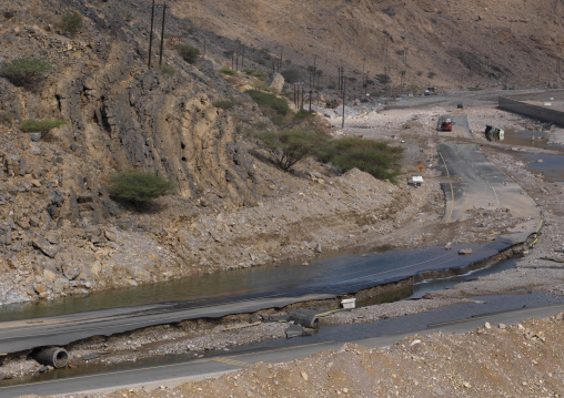 Broken Highway Caused By The Flood, Muscat, Oman