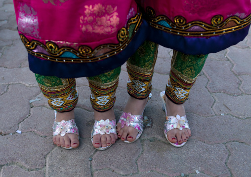 Two Little Girls Showing Their Traditional And Colourful Clothes, Ibra, Oman