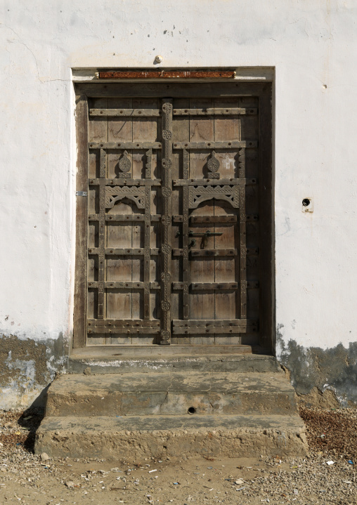 Wooden Carved Door Of Old Dhofari House, Taqa, Oman
