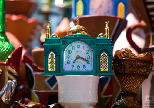 Clock with a mosque shape for sale in a market, Governorate of Muscat, Muscat, Oman
