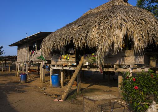 Panama, Darien Province, Alto Playona, Ladder On An Embera Indian House