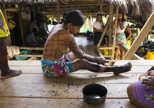 Panama, Darien Province, Bajo Chiquito, Woman Of The Native Indian Embera Tribe Is Ceremonially Decorated With Jagua Bodypaint
