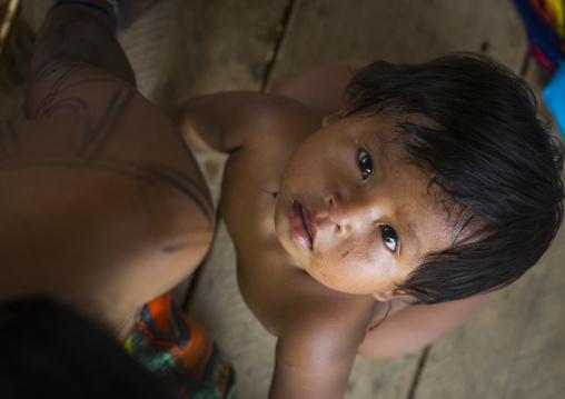 Panama, Darien Province, Bajo Chiquito, Embera Tribe Baby