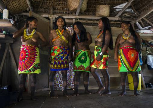Panama, Darien Province, Bajo Chiquito, Laughing Women Of The Native Indian Embera Tribe