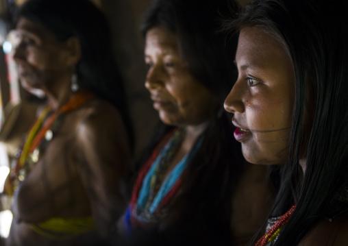 Panama, Darien Province, Bajo Chiquito, Women Of The Native Indian Embera Tribe Portrait