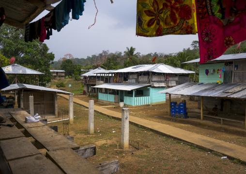 Panama, Darien Province, Bajo Chiquito, Embera Tribe Village With Modern Houses