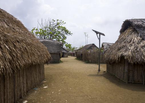 Panama, San Blas Islands, Mamitupu, Traditional Kuna House With A Solar Panel