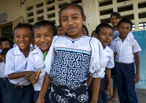 Panama, San Blas Islands, Mamitupu, Kuna Tribe Children In A School