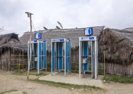 Panama, San Blas Islands, Mamitupu, Phone Booths In A Village