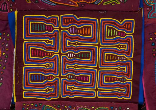 Panama, San Blas Islands, Mamitupu, Colorful Hand Stitched Kuna Indian Mola