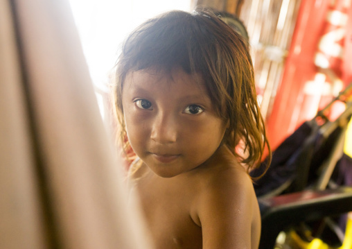 Panama, San Blas Islands, Mamitupu, Portrait Of A Kuna Indian Child