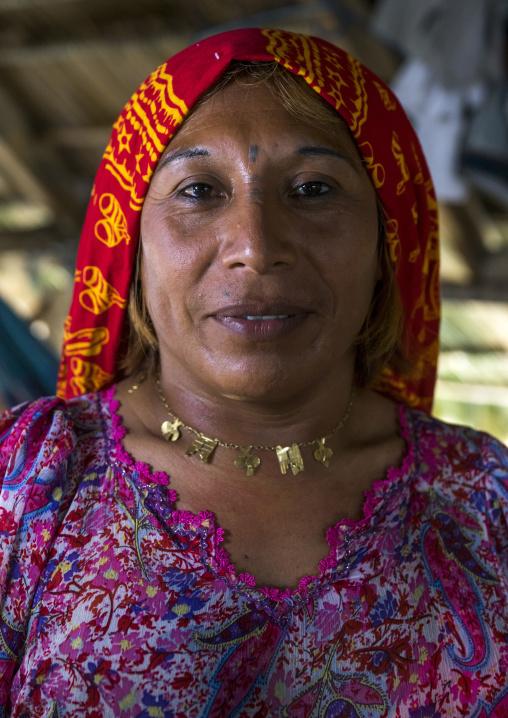 Panama, San Blas Islands, Mamitupu, Gay Kuna Indigenous Man Wearing Female Traditional Clothes