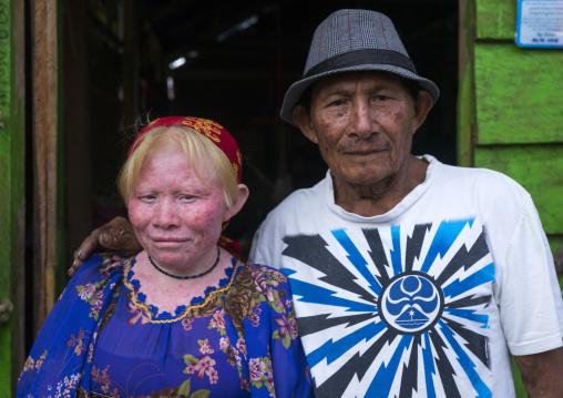 Panama, San Blas Islands, Mamitupu, Albino Kuna Tribe Woman With Her Father