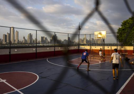 Panama, Province Of Panama, Panama City, Teens Playing Basketball In Casco Viejo