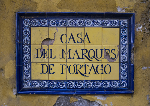 Panama, Province Of Panama, Panama City, Old Colonial Sign House In Casco Viejo