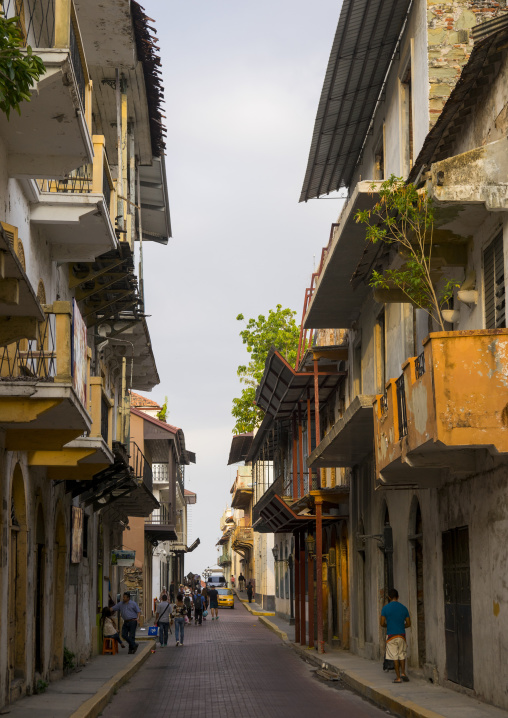 Panama, Province Of Panama, Panama City, Facades And Balconies Of The Old District In Casco Viejo