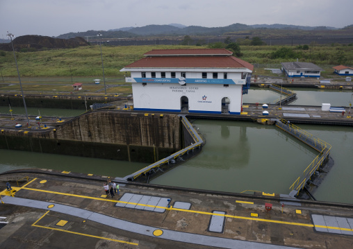 Panama, Province Of Panama, Panama City, Miraflores Locks In The Panama Canal