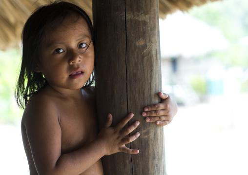 Panama, Darien Province, Puerta Lara, Girl Of Wounaan Native Community