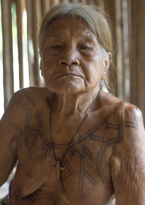 Panama, Darien Province, Puerta Lara, Old Woman Of Wounaan Native Community With Ink Tattoos