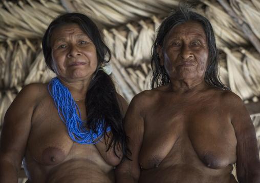 Panama, Darien Province, Puerta Lara, Old Women Of Embera Native Community