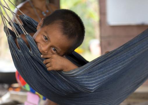 Panama, Darien Province, Puerta Lara, Wounaan Tribe Biy In A Hammock