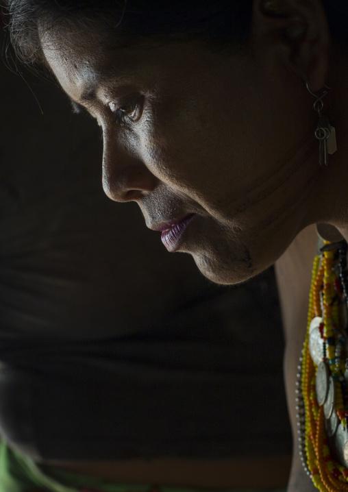 Panama, Darien Province, Bajo Chiquito, Woman Of The Native Indian Embera Tribe