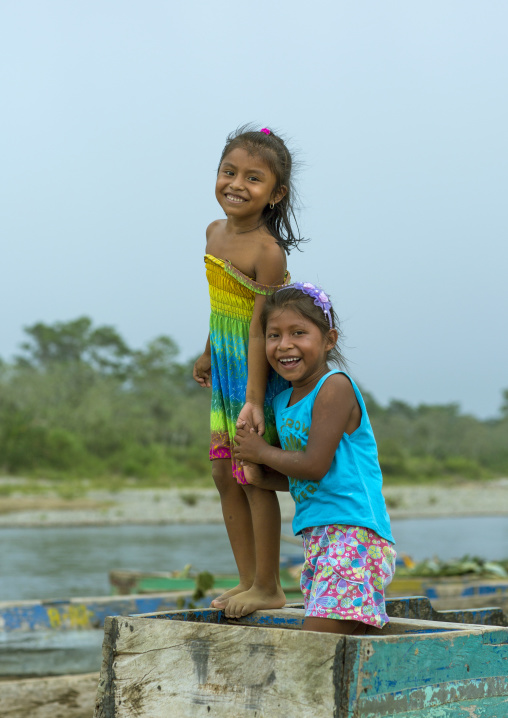 Panama, Darien Province, Bajo Chiquito, Embera Tribe Children Dressed In Western Clothes