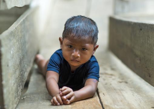 Panama, Darien Province, Bajo Chiquito, Embera Tribe Boy