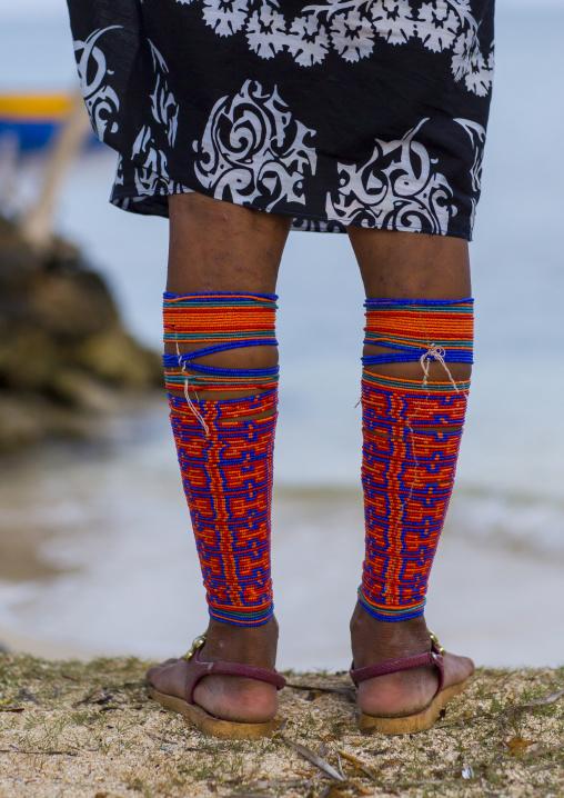 Panama, San Blas Islands, Mamitupu, Traditional Beaded Leg Ornaments Worn By Kuna Women
