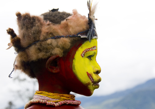 Portrait of a Huli tribe boy during a sing-sing ceremony, Western Highlands Province, Mount Hagen, Papua New Guinea