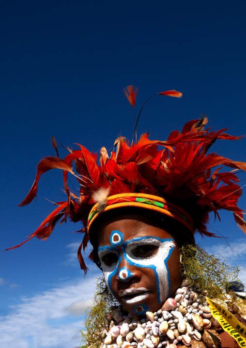 Highlander boy with traditional clothing during a sing-sing, Western Highlands Province, Mount Hagen, Papua New Guinea
