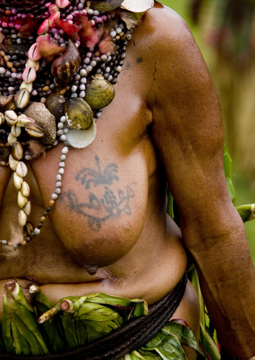 Plane tatooed on old woman breast, Western Highlands Province, Mount Hagen, Papua New Guinea