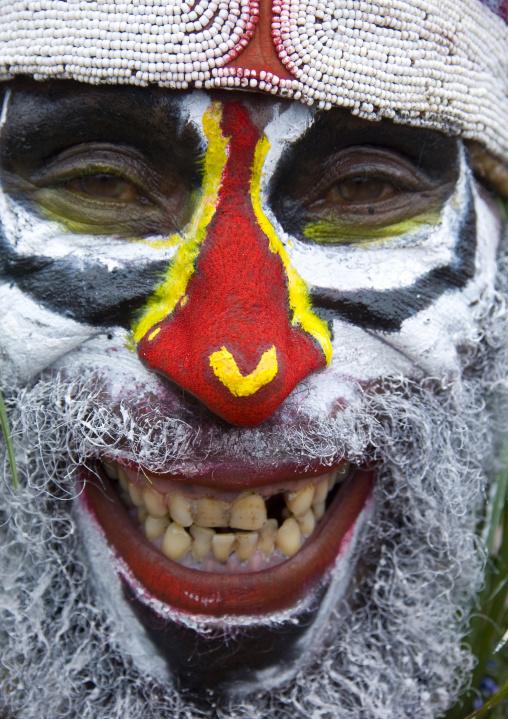 Portrait of a smiling highlander warrior with traditional makeup, Western Highlands Province, Mount Hagen, Papua New Guinea