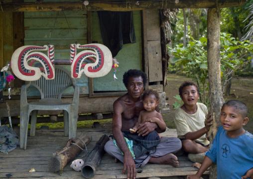 Trobriand island chief with his malangan, Milne Bay Province, Trobriand Island, Papua New Guinea
