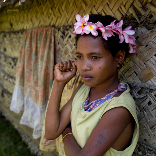 Portrait of a girl with flowers in the hair, Milne Bay Province, Trobriand Island, Papua New Guinea