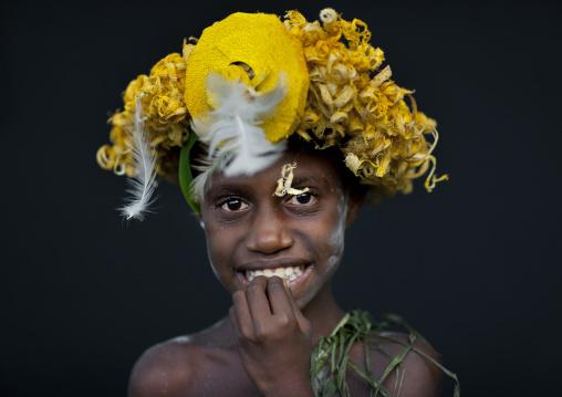 Portrait of a boy during Malagan tatuana masks dance, New Ireland Province, Langania, Papua New Guinea