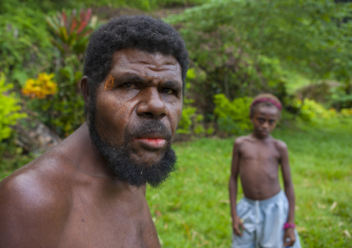 portrait of a father and his son, East New Britain Province, Rabaul, Papua New Guinea