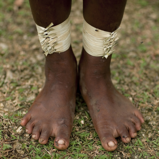 Traditional vegetal ankle decorations, Milne Bay Province, Trobriand Island, Papua New Guinea